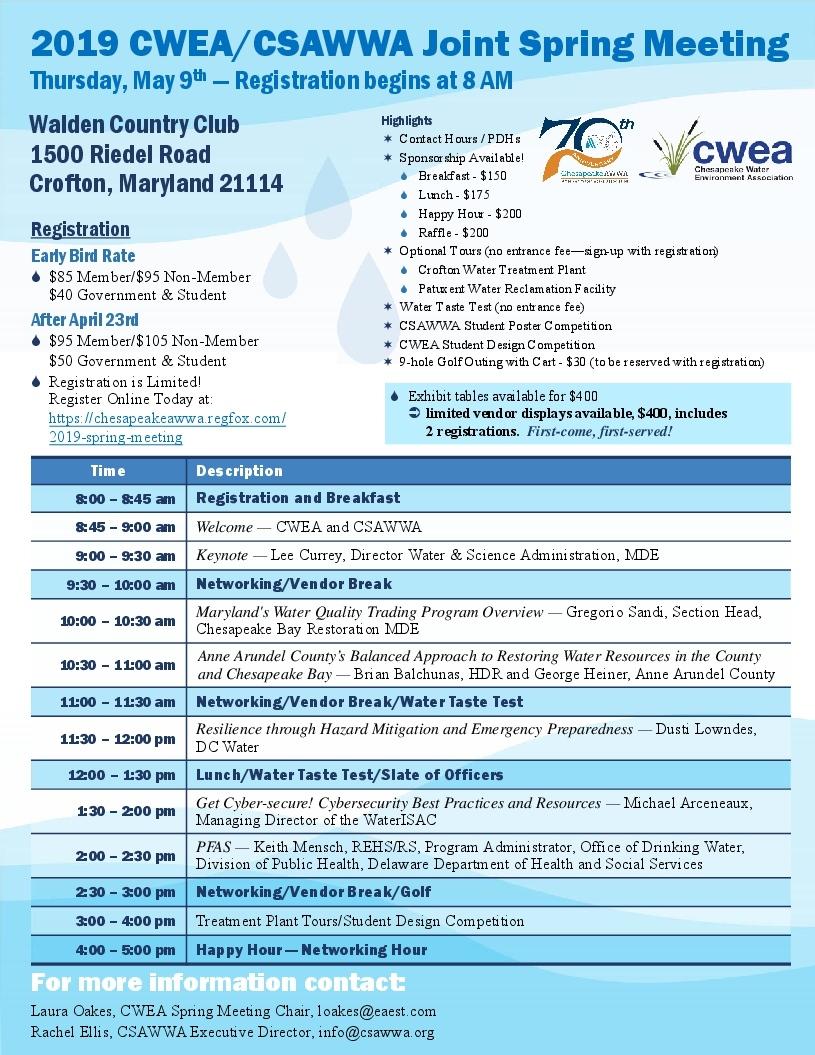 2019 CWEA/CSAWWA Spring Meeting - Chesapeake Water